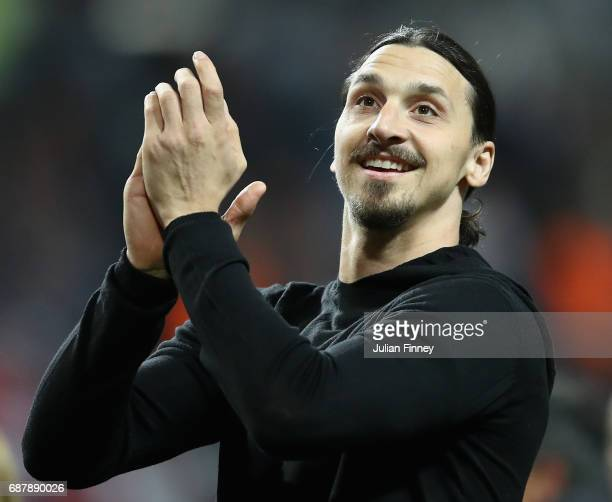 Zlatan Ibrahimovic of Manchester United shows appreciation to the fans after the UEFA Europa League Final between Ajax and Manchester United at...