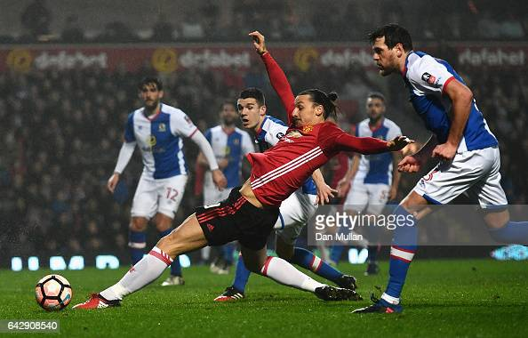 Zlatan Ibrahimovic of Manchester United stretches for the ball in front of goal during The Emirates FA Cup Fifth Round match between Blackburn Rovers...