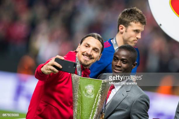 Zlatan Ibrahimovic of Manchester United takes a selfie with the Europa League trophy during the UEFA Europa League final between Ajax and Manchester...