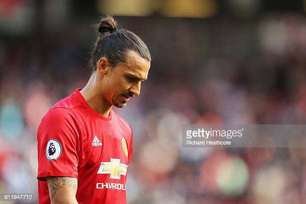 Zlatan Ibrahimovic of Manchester United walks in at half time during the Premier League match between Manchester United and Stoke City at Old...
