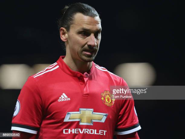 Zlatan Ibrahimovic of Manchester United walks off after the Premier League match between Manchester United and Manchester City at Old Trafford on...