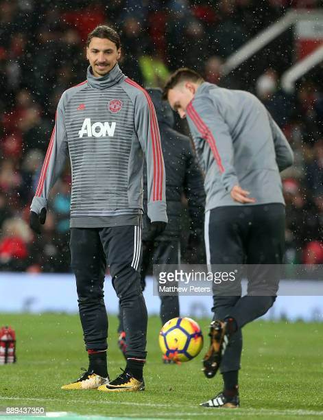 Zlatan Ibrahimovic of Manchester United warms up ahead of the Premier League match between Manchester United and Manchester City at Old Trafford on...