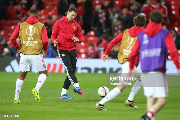Zlatan Ibrahimovic of Manchester United warms up ahead of the UEFA Europa League Round of 16 second leg match between Manchester United and FK Rostov...