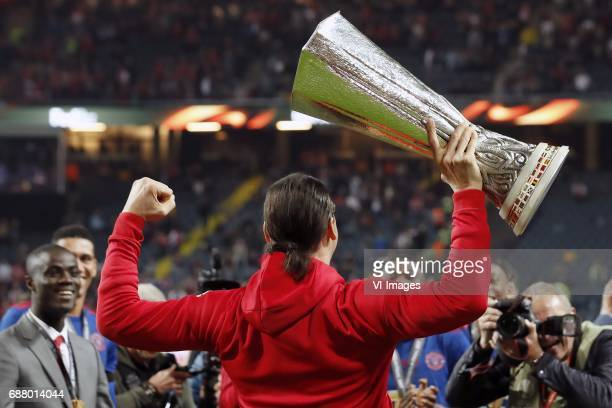Zlatan Ibrahimovic of Manchester United with the Coupe UEFA the UEFA cupduring the UEFA Europa League final match between Ajax Amsterdam and...