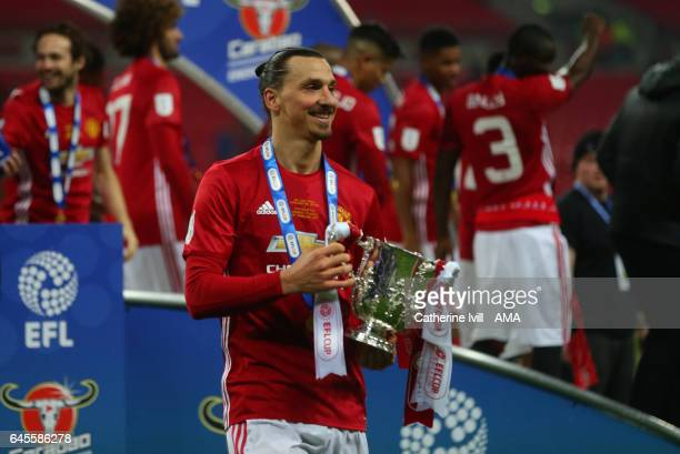 Zlatan Ibrahimovic of Manchester United with the trophy after the EFL Cup Final match between Manchester United and Southampton at Wembley Stadium on...