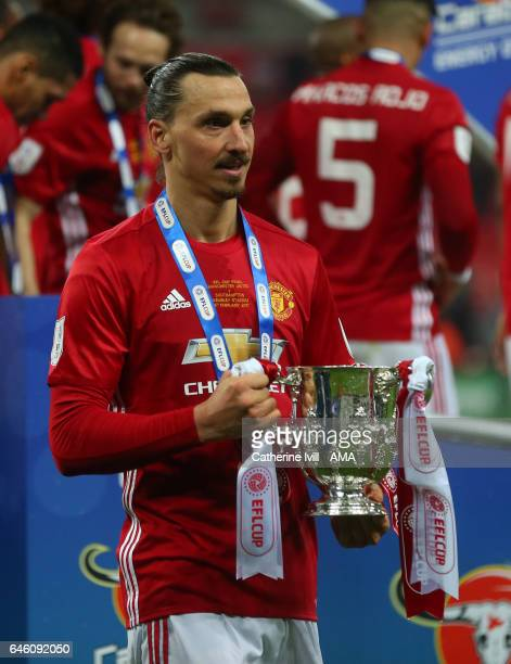 Zlatan Ibrahimovic of Manchester United with the trophy during the EFL Cup Final match between Manchester United and Southampton at Wembley Stadium...