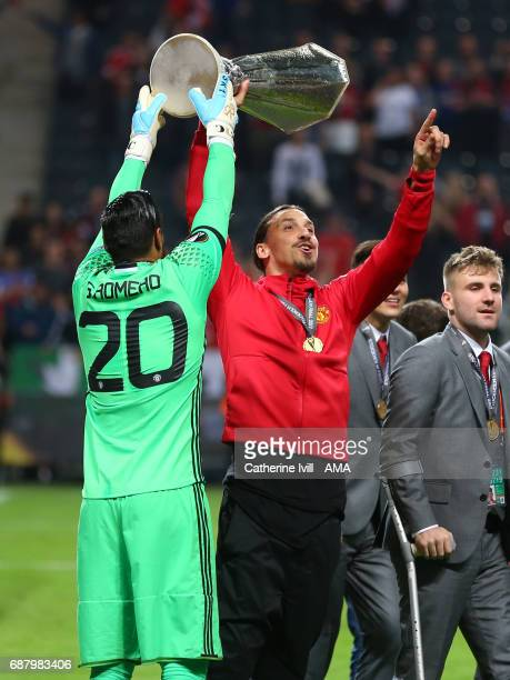 Zlatan Ibrahimovic of Manchester United with the trophy during the UEFA Europa League Final match between Ajax and Manchester United at Friends Arena...