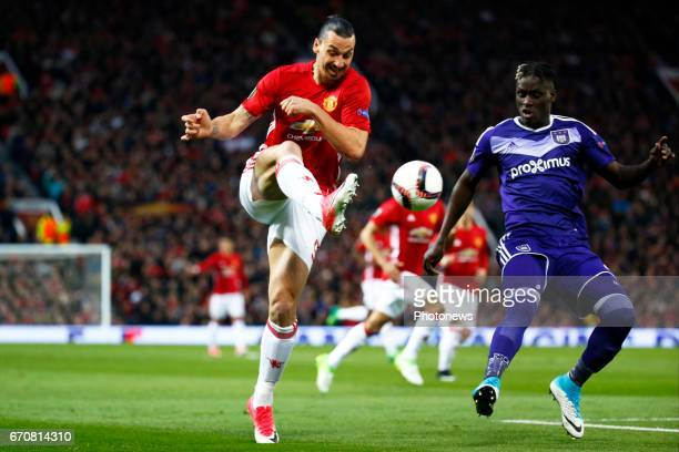 Zlatan Ibrahimovic of Mancheter United and Kara Serigne Modou Mbodji defender of RSC Anderlecht during the match between Manchester United and Rsc...