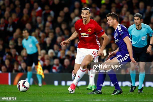 Zlatan Ibrahimovic of Mancheter United and Leander Dendoncker midfielder of RSC Anderlecht during the match between Manchester United and Rsc...