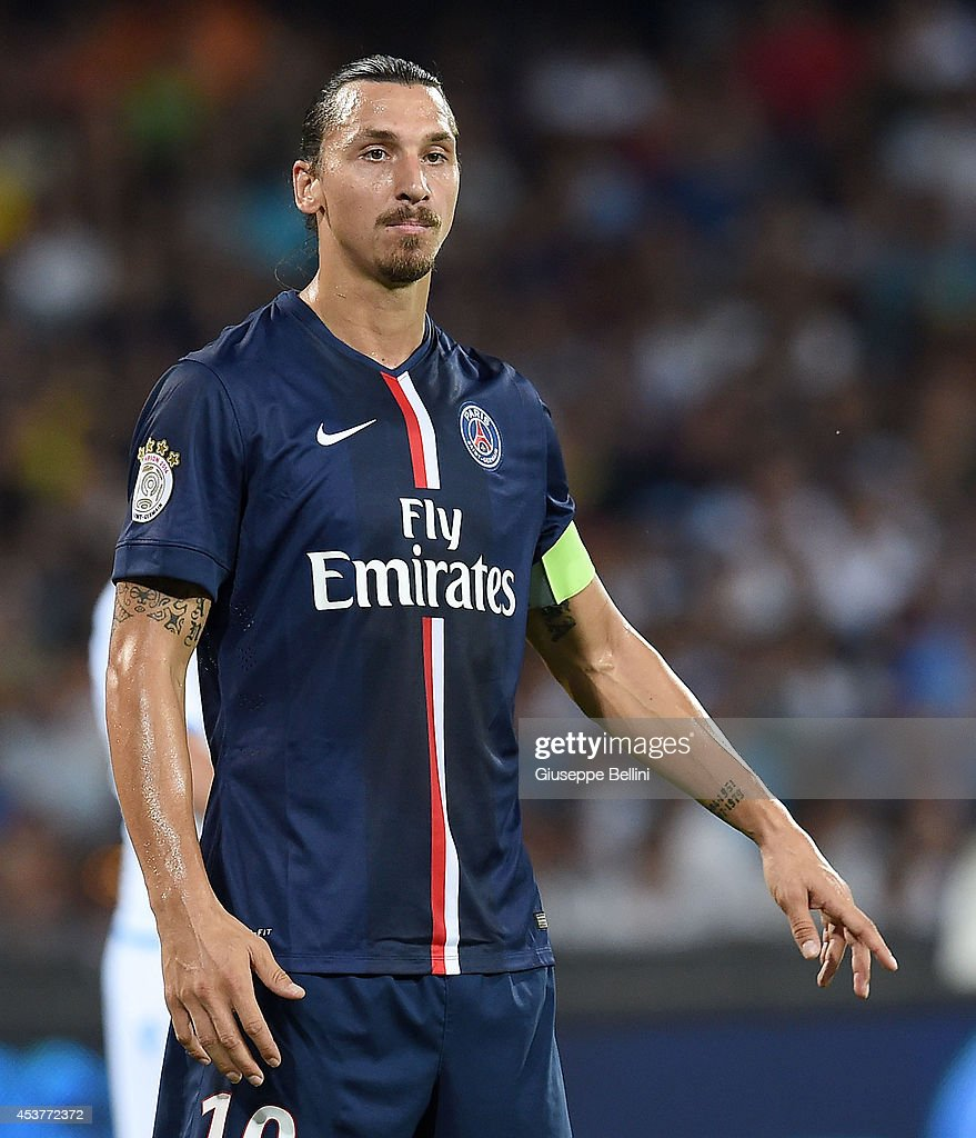 <a gi-track='captionPersonalityLinkClicked' href=/galleries/search?phrase=Zlatan+Ibrahimovic&family=editorial&specificpeople=206139 ng-click='$event.stopPropagation()'>Zlatan Ibrahimovic</a> of Paris Saint Germain in action during the pre-season friendly match between SSC Napoli and Paris Saint-Germain FC at Stadio San Paolo on August 11, 2014 in Naples, Italy.