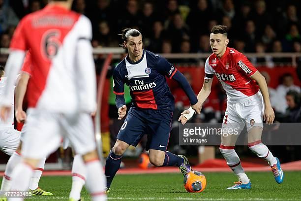 Zlatan Ibrahimovic of Paris Saint Germain Lucas Ariel Ocampos of AS Monaco during the France Ligue 1 match between AS Monaco and Paris SaintGermain...
