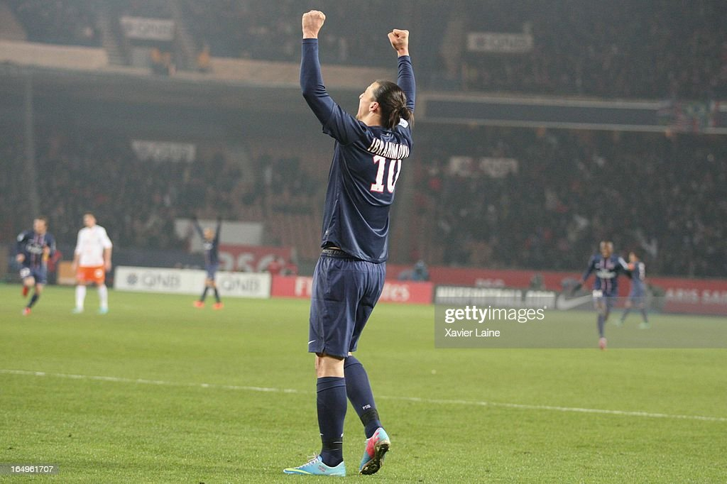 <a gi-track='captionPersonalityLinkClicked' href=/galleries/search?phrase=Zlatan+Ibrahimovic&family=editorial&specificpeople=206139 ng-click='$event.stopPropagation()'>Zlatan Ibrahimovic</a> of Paris Saint-Germain celebrate a goal during the French League 1 between Paris Saint-Germain FC and Montpellier Herault SC, at Parc des Princes on March 29, 2013 in Paris, France.