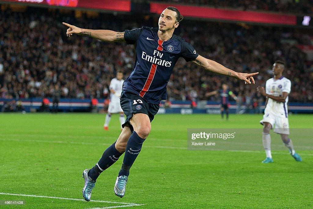 Zlatan Ibrahimovic of Paris Saint-Germain celebrate his first goal during the French Ligue 1 between Paris Saint-Germain and Toulouse FC at Parc Des Princes on november 7, 2015 in Paris, France.