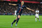 Zlatan Ibrahimovic of Paris SaintGermain celebrate his first goal during the French Ligue 1 between Paris SaintGermain and Toulouse FC at Parc Des...