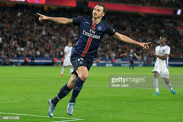 Zlatan Ibrahimovic of Paris SaintGermain celebrate his first goal during the French Ligue 1 between Paris SaintGermain and Toulouse FC at Parc Des...