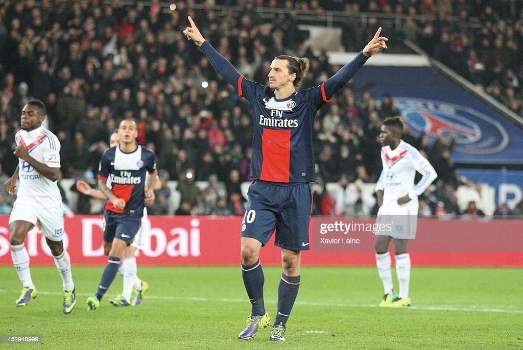 <a gi-track='captionPersonalityLinkClicked' href=/galleries/search?phrase=Zlatan+Ibrahimovic&family=editorial&specificpeople=206139 ng-click='$event.stopPropagation()'>Zlatan Ibrahimovic</a> of Paris Saint-Germain celebrate his goal during the French Ligue 1 between Paris Saint-Germain FC and Olympique Lyonnais at Parc Des Princes on December 1, 2013 in Paris, France.