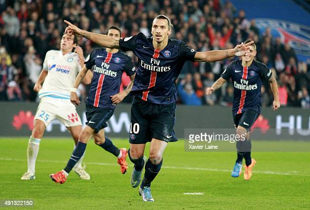 Zlatan Ibrahimovic of Paris SaintGermain celebrate his goal during the French Ligue 1 between Paris SaintGermain and Olympique de Marseille at Parc...