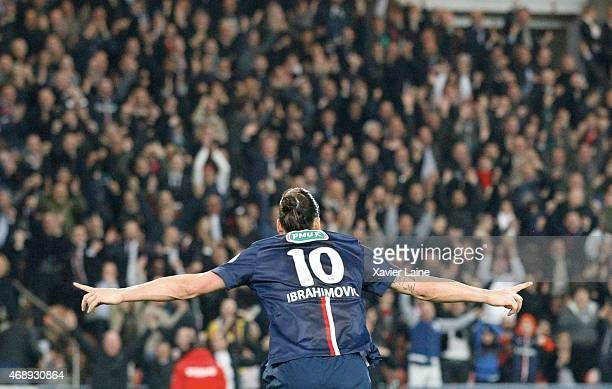 Zlatan Ibrahimovic of Paris SaintGermain celebrate his goal with fans during the French Cup SemiFinal between Paris SaintGermain and ASSE...