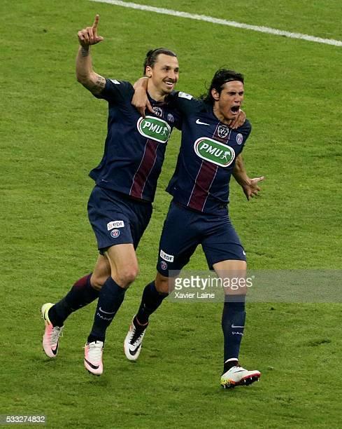 Zlatan Ibrahimovic of Paris SaintGermain celebrate his goal with Edinson Cavani during the final French Cup between Paris SaintGermain and Olympique...
