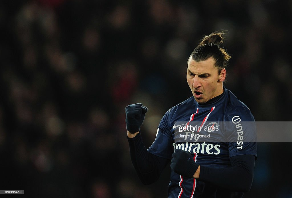 <a gi-track='captionPersonalityLinkClicked' href=/galleries/search?phrase=Zlatan+Ibrahimovic&family=editorial&specificpeople=206139 ng-click='$event.stopPropagation()'>Zlatan Ibrahimovic</a> of Paris Saint-Germain celebrates his goal during the Ligue 1 match between Paris Saint-Germain FC and SC Bastia at Parc des Princes on February 8, 2013 in Paris, France.