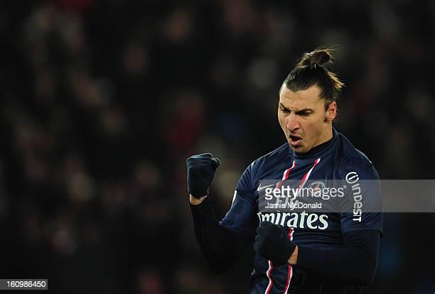 Zlatan Ibrahimovic of Paris SaintGermain celebrates his goal during the Ligue 1 match between Paris SaintGermain FC and SC Bastia at Parc des Princes...
