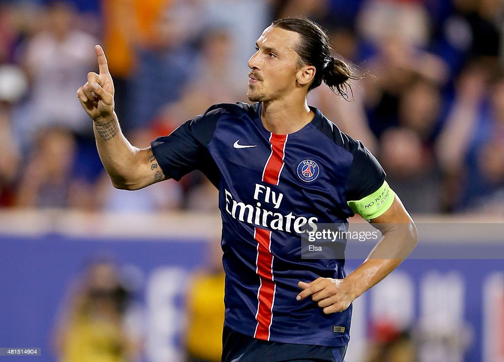 Zlatan Ibrahimovic #10 of Paris Saint-Germain celebrates his goal in the second half against AFC Fiorentina during the International Champions Cup at Red Bull Arena on July 21, 2015 in Harrison, New Jersey.Paris Saint-Germain defeated ACF Fiorentina 4-2.