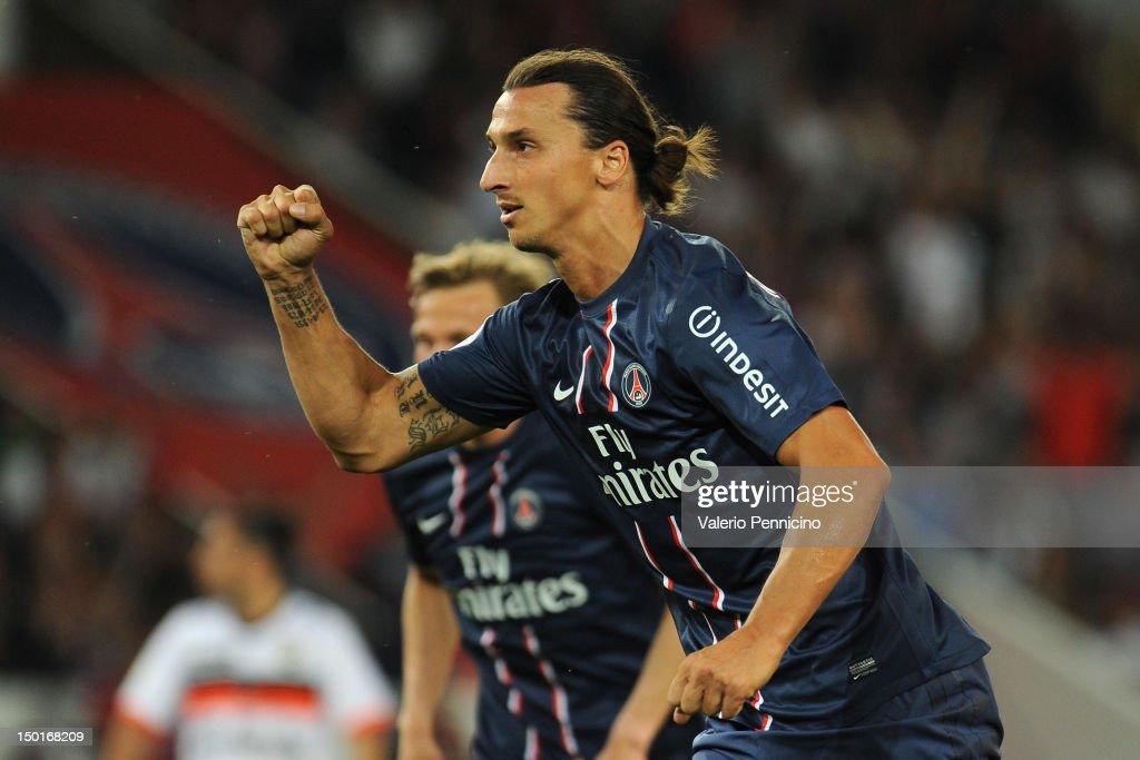 Zlatan Ibrahimovic of Paris SaintGermain FC celebrates a goal during the Ligue 1 match between Paris SaintGermain FC and FC Lorient at Parc des...