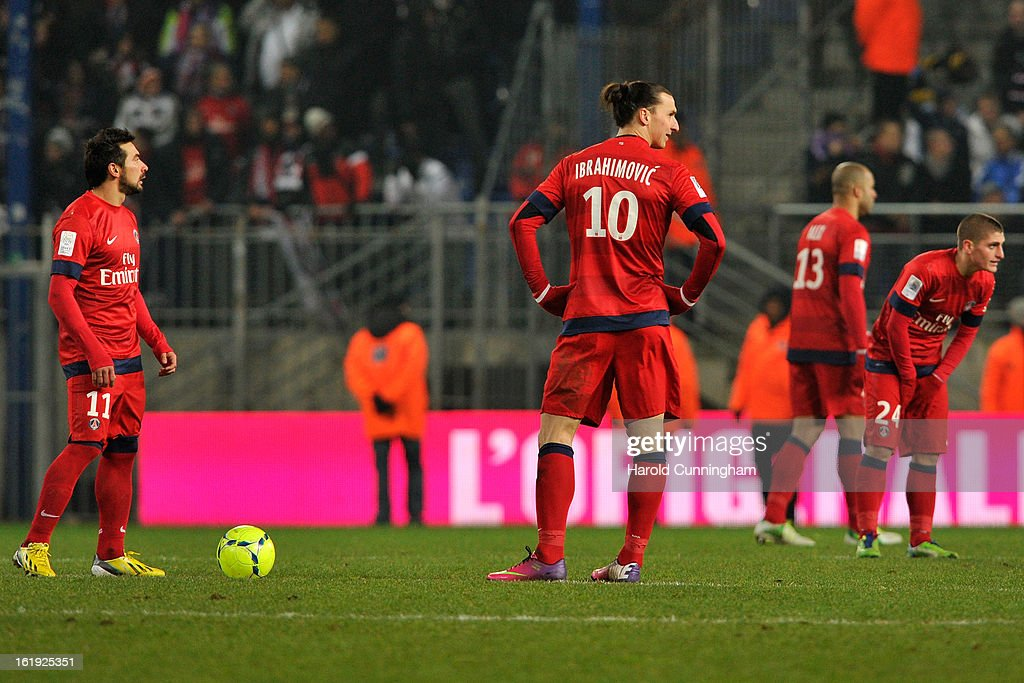 Zlatan Ibrahimovic of Paris Saint-Germain FC looks dejected during the French League 1 football match betweenFC Sochaux-Montbeliardand Paris Saint-Germain FC at Stade Auguste Bonal on February 17, 2013 in Montbeliard, France.