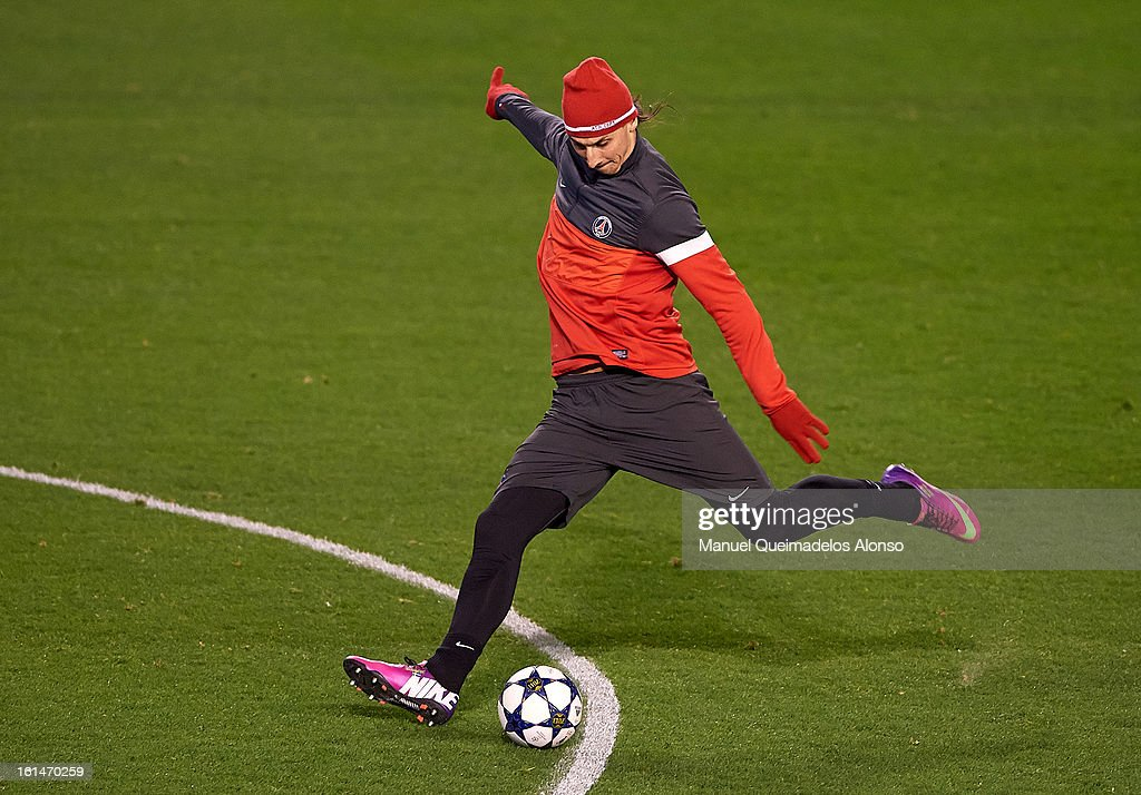 <a gi-track='captionPersonalityLinkClicked' href=/galleries/search?phrase=Zlatan+Ibrahimovic&family=editorial&specificpeople=206139 ng-click='$event.stopPropagation()'>Zlatan Ibrahimovic</a> of Paris Saint-Germain in action during a Paris Saint-Germain training session ahead of the UEFA Champions League match between Valencia CF and Paris St Germain at Estadi de Mestalla on February 11, 2013 in Valencia, Spain.