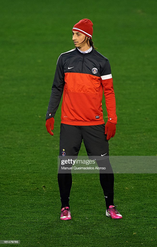 Zlatan Ibrahimovic of Paris Saint-Germain looks on during a Paris Saint-Germain training session ahead of the UEFA Champions League match between Valencia CF and Paris St Germain at Estadi de Mestalla on February 11, 2013 in Valencia, Spain.