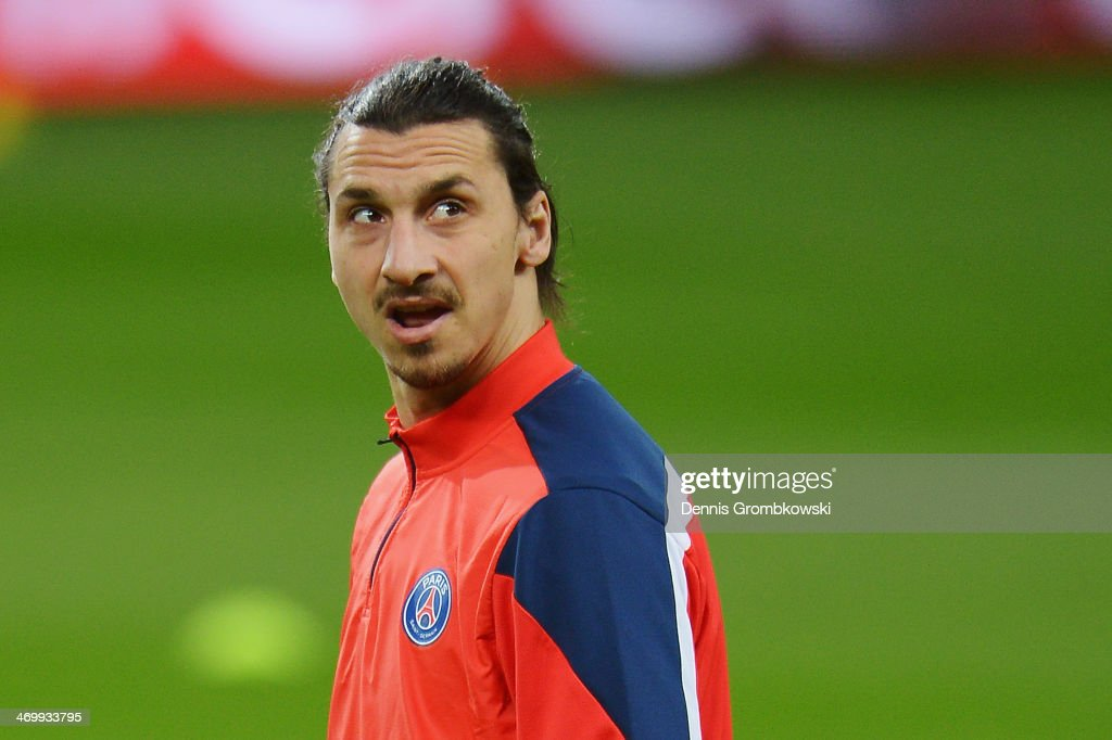<a gi-track='captionPersonalityLinkClicked' href=/galleries/search?phrase=Zlatan+Ibrahimovic&family=editorial&specificpeople=206139 ng-click='$event.stopPropagation()'>Zlatan Ibrahimovic</a> of Paris Saint-Germain looks on during a training session ahead of the UEFA Champions League match between Bayer Leverkusen and Paris Saint-Germain at BayArena on February 17, 2014 in Leverkusen, Germany.