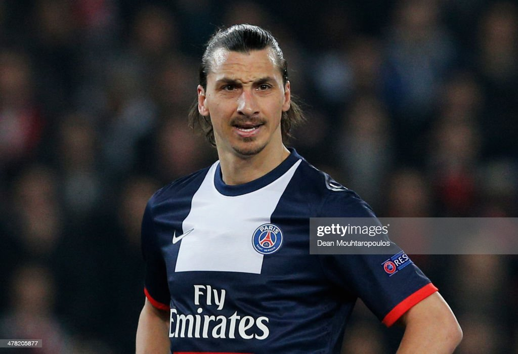 <a gi-track='captionPersonalityLinkClicked' href=/galleries/search?phrase=Zlatan+Ibrahimovic&family=editorial&specificpeople=206139 ng-click='$event.stopPropagation()'>Zlatan Ibrahimovic</a> of Paris Saint-Germain looks on during the UEFA Champions League Round of 16 second leg match between Paris Saint-Germain FC and Bayer Leverkusen at Parc des Princes on March 12, 2014 in Paris, France.