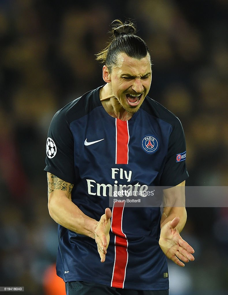Zlatan Ibrahimovic of Paris Saint-Germain reacts after his shot off target during the UEFA Champions League Quarter Final First Leg match between Paris Saint-Germain and Manchester City at Parc des Princes on April 6, 2016 in Paris, France.