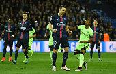 Zlatan Ibrahimovic of Paris SaintGermain reacts after missing a penalty during the UEFA Champions League Quarter Final First Leg match between Paris...