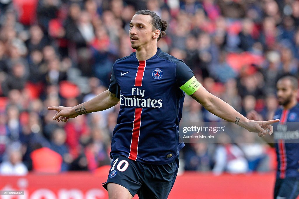 Zlatan Ibrahimovic of Paris Saint-Germain reacts after scoring during the Ligue 1 game between Paris Saint-Germain and SM Caen at Parc des Princes on April 16, 2016 in Paris, France.