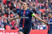 Zlatan Ibrahimovic of Paris SaintGermain reacts after scoring during the Ligue 1 game between Paris SaintGermain and SM Caen at Parc des Princes on...
