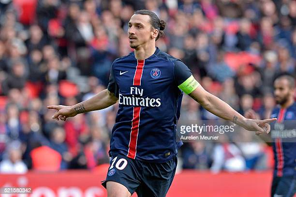 Zlatan Ibrahimovic of Paris SaintGermain reacts after scoring during the Ligue 1 game between Paris SaintGermain and SM Caen at Parc des Princes on...