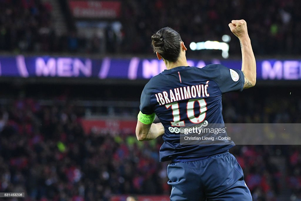 <a gi-track='captionPersonalityLinkClicked' href=/galleries/search?phrase=Zlatan+Ibrahimovic&family=editorial&specificpeople=206139 ng-click='$event.stopPropagation()'>Zlatan Ibrahimovic</a> of Paris Saint-Germain reacts after scoring his 37th goal of the season during the French Ligue match between Paris Saint-Germain and FC Nantes at Parc des Princes on May 14, 2016 in Paris, France.