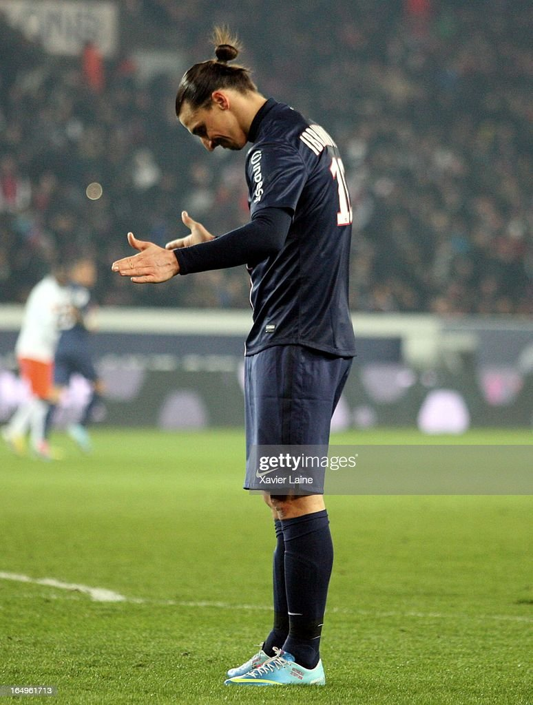 <a gi-track='captionPersonalityLinkClicked' href=/galleries/search?phrase=Zlatan+Ibrahimovic&family=editorial&specificpeople=206139 ng-click='$event.stopPropagation()'>Zlatan Ibrahimovic</a> of Paris Saint-Germain reacts during the French League 1 between Paris Saint-Germain FC and Montpellier Herault SC, at Parc des Princes on March 29, 2013 in Paris, France.
