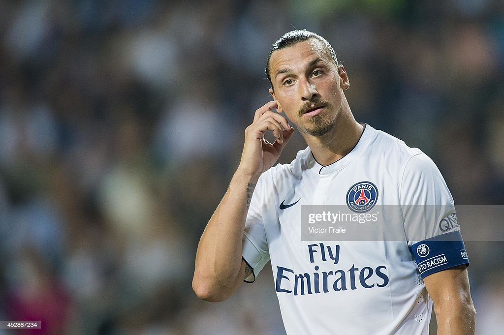 <a gi-track='captionPersonalityLinkClicked' href=/galleries/search?phrase=Zlatan+Ibrahimovic&family=editorial&specificpeople=206139 ng-click='$event.stopPropagation()'>Zlatan Ibrahimovic</a> of Paris Saint-Germain reacts during the friendly match between Kitchee and Paris Saint-Germain at Hong Kong Stadium on July 29, 2014 in Hong Kong, Hong Kong.