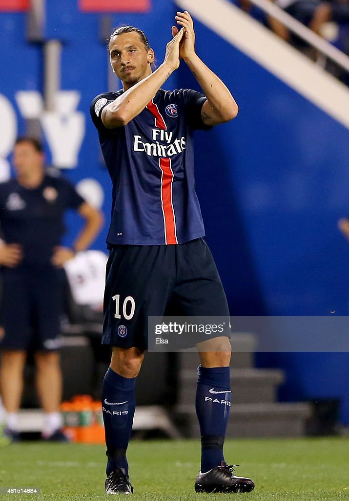 Zlatan Ibrahimovic #10 of Paris Saint-Germain salutes the fans after he is pulled from the game against AFC Fiorentina during the International Champions Cup at Red Bull Arena on July 21, 2015 in Harrison, New Jersey.Paris Saint-Germain defeated ACF Fiorentina 4-2.