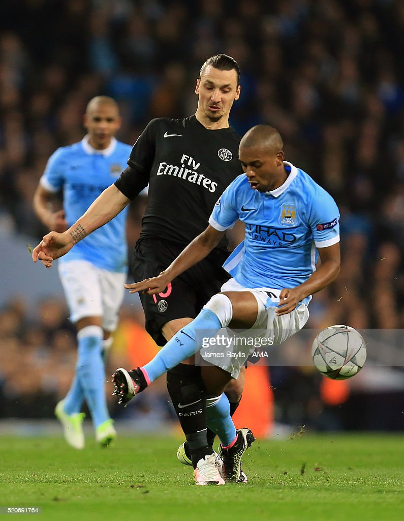 Zlatan Ibrahimovic of Paris St Germain and Fernandinho of Manchester City during the UEFA Champions League Quarter Final second leg match between Manchester City FC and Paris Saint-Germain at the Etihad Stadium on April 12, 2016 in Manchester, United Kingdom.