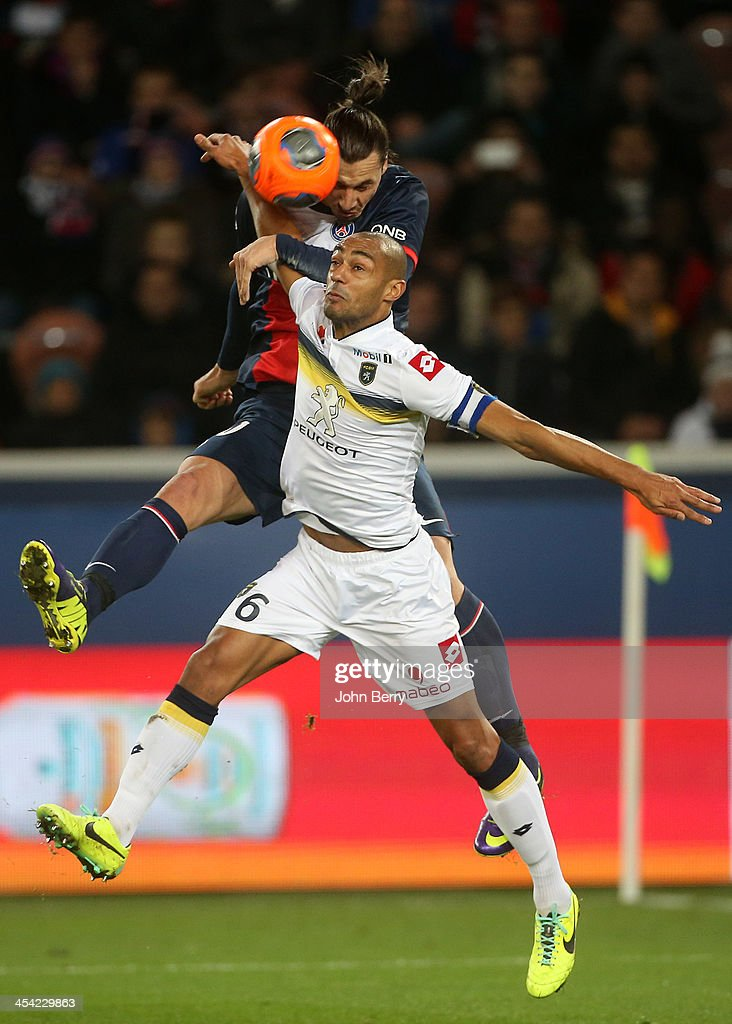 <a gi-track='captionPersonalityLinkClicked' href=/galleries/search?phrase=Zlatan+Ibrahimovic&family=editorial&specificpeople=206139 ng-click='$event.stopPropagation()'>Zlatan Ibrahimovic</a> of PSG and <a gi-track='captionPersonalityLinkClicked' href=/galleries/search?phrase=Cedric+Kante&family=editorial&specificpeople=648441 ng-click='$event.stopPropagation()'>Cedric Kante</a> of Sochaux in action during the french Ligue 1 match between Paris Saint-Germain FC and FC Sochaux Montbeliard at the Parc des Princes stadium on December 7, 2013 in Paris, France.