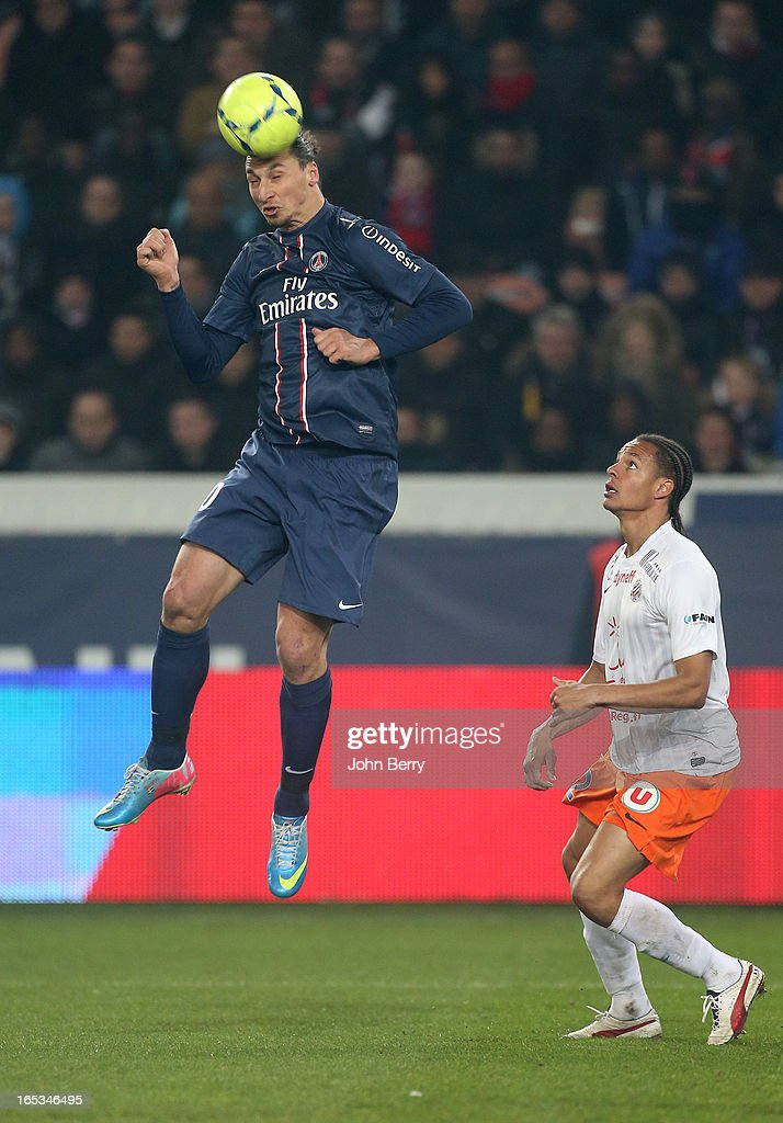 <a gi-track='captionPersonalityLinkClicked' href=/galleries/search?phrase=Zlatan+Ibrahimovic&family=editorial&specificpeople=206139 ng-click='$event.stopPropagation()'>Zlatan Ibrahimovic</a> of PSG and <a gi-track='captionPersonalityLinkClicked' href=/galleries/search?phrase=Daniel+Congre&family=editorial&specificpeople=2167788 ng-click='$event.stopPropagation()'>Daniel Congre</a> of Montpellier in action during the french Ligue 1 match between Paris Saint-Germain FC and Montpellier Herault SC at the Parc des Princes stadium on March 29, 2013 in Paris, France.