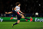 Zlatan Ibrahimovic of PSG and David Luiz of Chelsea compete for the ball during the UEFA Champions League quarter final first leg match between Paris...