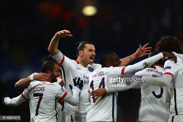 Zlatan Ibrahimovic of PSG celebrates after providing the cross for the opening goal scored by teammate Adrien Rabiot of PSG during the UEFA Champions...