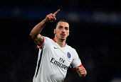 Zlatan Ibrahimovic of PSG celebrates after scoring his team's second goal during the UEFA Champions League round of 16 second leg match between...