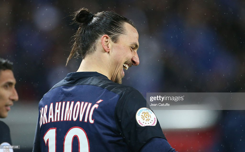 <a gi-track='captionPersonalityLinkClicked' href=/galleries/search?phrase=Zlatan+Ibrahimovic&family=editorial&specificpeople=206139 ng-click='$event.stopPropagation()'>Zlatan Ibrahimovic</a> of PSG celebrates his first goal during the French Ligue 1 match between Paris Saint-Germain (PSG) and Stade Rennais FC at Parc des Princes stadium on April 29, 2016 in Paris, France.