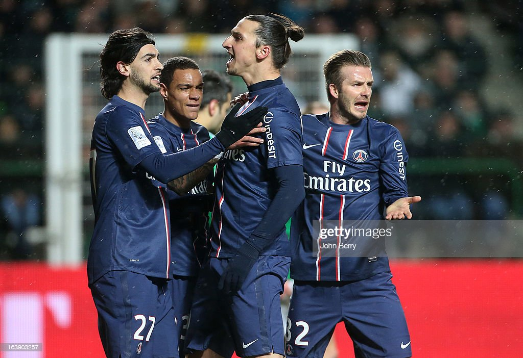 Zlatan Ibrahimovic of PSG celebrates his goal but Javier Pastore, Gregory Van Der Wiel and David Beckham look worried because Zlatan has to shoot again the penalty kick during the Ligue 1 match between AS Saint-Etienne ASSE and Paris Saint-Germain FC at the Stade Geoffroy-Guichard on March 17, 2013 in Saint-Etienne, France.