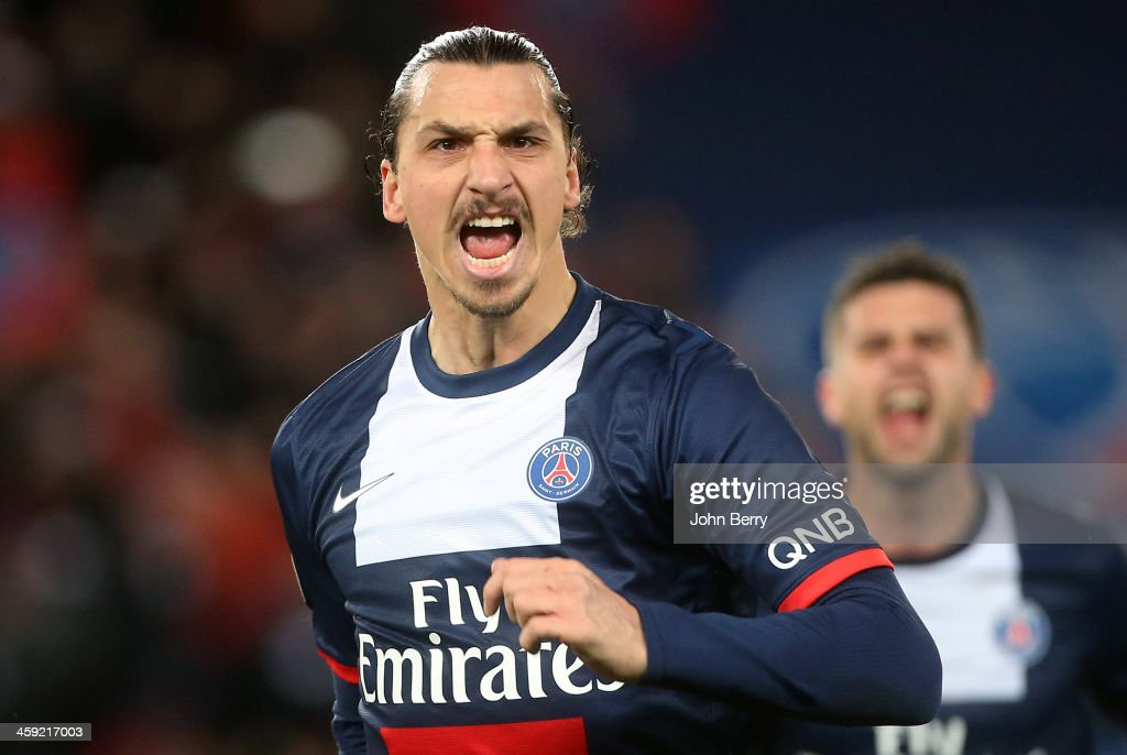 <a gi-track='captionPersonalityLinkClicked' href=/galleries/search?phrase=Zlatan+Ibrahimovic&family=editorial&specificpeople=206139 ng-click='$event.stopPropagation()'>Zlatan Ibrahimovic</a> of PSG celebrates his goal during the french Ligue 1 match between Paris Saint-Germain FC and Lille LOSC at the Parc des Princes stadium on December 22, 2013 in Paris, France.